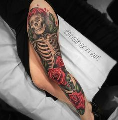 Ideas Of Meaningful And Great Tattoos For Girls Tattoo Girls, Tattoo Women, Girl Tattoos, Tattoos For Guys, Women Leg Tattoos, Skeleton Tattoos, Skull Tattoos, Body Art Tattoos, Leg Sleeve Tattoos