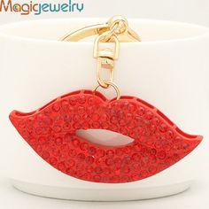 Sexy Red Crystal Mouth Keychains Keyring Fashion Rhinestone Trinkets Metal Key Chain