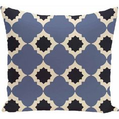 Simply Daisy Geometric Print Decorative Pillow, 16 inch x 16 inch, Blue