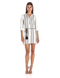Blu Pepper Womens Long Sleeve Striped Gauze Fabric Shirt Dress IvoryDark Grey Small >>> To view further for this item, visit the image link.