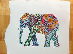black outline and watercolor elephant -