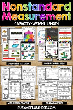 Teachers, are you looking for some fun activities for your students to do during stations or to learn about nonstandard measurement? These great anchor charts, worksheets, and hands on activities will be fun and engaging for our kindergarten, first grade, or second grade kids!  Grab this today and start learning!  #measurement #math #firstgrade #kindergarten #stations Nonstandard Measurement, Teaching Measurement, Measurement Activities, Teaching Plan, Student Teaching, Math Activities, Kindergarten Math Games, Kindergarten Anchor Charts, Preschool