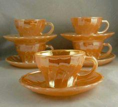 Six 6 Vintage Fire King Peach Lustre Demi Cups & Saucers Childs Tea Set