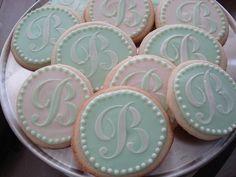 monogram wedding cookies - so pretty for a wedding shower Wedding Desserts, Wedding Favors, Wedding Shower Cookies, Wedding Showers, Elegant Cookies, Monogram Cookies, Yummy Cookies, Sugar Cookies, Iced Cookies