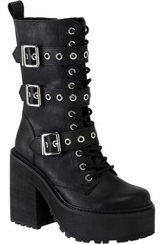 Vendetta Boots [B] | KILLSTAR  Fit for a party animal or lone-wolf alike; the 'Vendetta' boots will steal yer heart just the same. Luxe faux leather, strap accents, lace feature and high platform - giving you just the right amount of elevation. Ready to rock with yer coven, nights out - or just doing day-to-day adventures.Matches with your black wardrobe purrfectly; looks killer with leggings and oversized tops.
