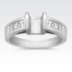 Tension Set Princess Cut Diamond Engagement Ring