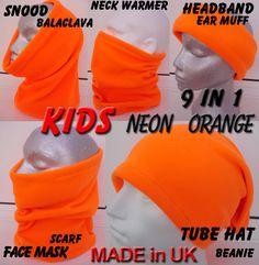 BOY GIRL KIDS neon Hivis bright orange SNOOD NECK WARMER scarf ski hat KIDS PPE in Clothes, Shoes & Accessories, Kids' Clothes, Shoes & Accs., Boys' Accessories | eBay