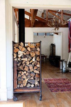 Wood storage on wheels.