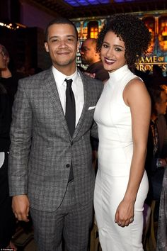 Frustrated couple: Jacob Anderson and Nathalie Emmanuel looked as cute together as Grey Worm and Missandei