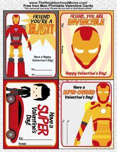 Printable Valentine's Cards - Free Valentine Printables IronMan Valentine Card Printables and Animal Valentine Card Printables