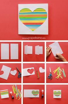 como hacer tarjeta san valentín papel paso a paso upcycling reciclaje con recortes de papel