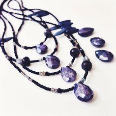 SOLD - Blue Hellebore - New Growth -  Aura Labradorite and Mystic Quartz crystal gemstone necklace