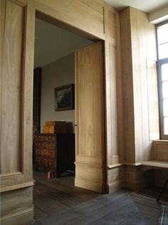 wainscot, chamfered ceiling , built in shelves OFFICE European Doors, Molding And Millwork, House Design, Residential Interior, House Layouts, Wood Interiors, Rustic Interiors, Interior Architecture, Millwork Details