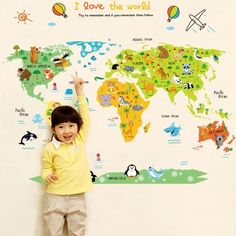 Wall Pops Kids World Dry Erase Map Wall Decal W X H In - How to get vinyl decals to stick to textured walls