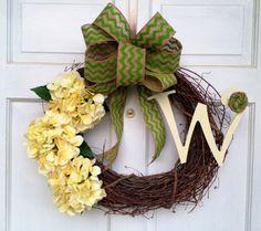 Yellow Hydrangea Wreath with Green Chevron Bow - Spring Wreath - Summer Wreath - Chevron Wreath