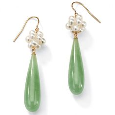 Jade and Cultured Freshwater Pearl Accent 10k Yellow Gold Drop Earrings at Viomart.com