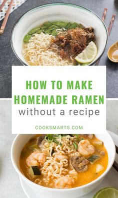 Cooking Formula: Ramen   With our easy ramen recipes, you can make delicious homemade ramen with simple ingredients (and even leftovers) you have on hand! Whether you prefer your noodles vegan, vegetarian, or with chicken or pork, you'll find countless ways to suit your taste with our ramen cooking formula. Enjoy!   CookSmarts.com Ramen Recipes, Chili Recipes, Asian Recipes, Dinner Recipes, Cooking On A Budget, Cooking Tips, Healthy Cooking, Healthy Eating, Homemade Ramen