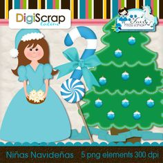 NIña Navidad Clip Art, Graphics, Navidad, Graphic Design