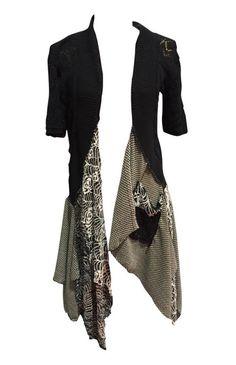 lagenlook black sweater or lightweight soft jacket drop waist shabby chic boho chic vintage style romantic cream dress 3488
