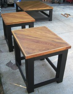 Matching End Tables Made From Re Purposed Old Oak Flooring. Contact Us At  972.668