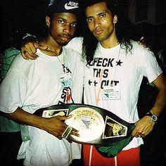 DJ Scratch of EPMD with the 1988 New Music Seminar Battle For World Supremacy Belt while on tour in Europe... #djscratch #epmd #freshrecords #sleepingbagrecords #djbattle #turntablism #scratchdj #ericsermon #parrishsmith #brooklyn #strongisland #classicrap #oldschoolrap #strictlybusiness #unfinishedbusiness #getthebozack by sleepingbagrecords http://ift.tt/1HNGVsC