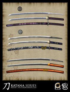 """A collection of weapon illustrations created for Reality Blurs RPG setting """"Iron Dynasty"""". The client wanted the weapons to be unique but historically accurate, so most of the fun I had lies in the. Katana, Drawing Tools, Deviantart, Weapons, Fantasy, Illustrations, Game, Unique, Collection"""