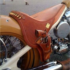 Need this for my bike! Motorcycle Seats, Motorcycle Leather, Bike Seat, Steampunk Motorcycle, Open Carry, Gun Holster, Holsters, Leather Holster, Selle Moto