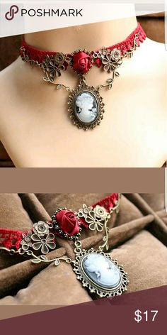 NWT Ladies Victorian Red Lace Cameo Choker This is a Fabulous Chocker! Lovely Design! New Red Lace Cameo Choker  Bronze Alloyed Metal Jewelry Necklaces
