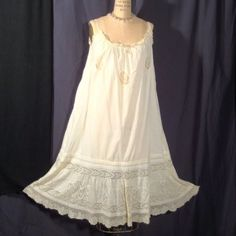 Victorian or edwardian ecru chemise with lace and pin tucks