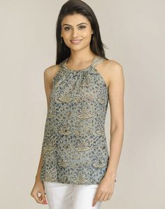Cotton Mull Kalamkari Gathered Round Neck Top