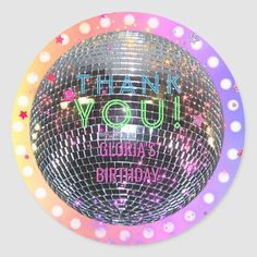 Shop Disco Ball Dance Birthday Retro Disco Party Classic Round Sticker created by Personalize it with photos & text or purchase as is! Dance Party Kids, Dance Party Birthday, Ball Birthday, Kids Birthday Party Invitations, Dance Parties, Disco Party, Disco Ball, Dance Gifts, Personalized Note Cards