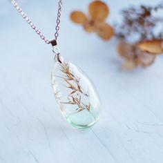 Botanical pendant - Coastal grass - resin jewelry