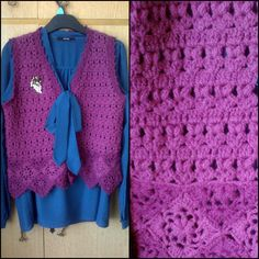 Purple crochet vest in the style of the 70s.
