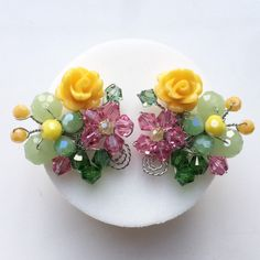 Excited to share this item from my shop: Colourful earrings , floral earrings , multicolour earrings , green pink yellow earri… Pink Jewelry, Ear Jewelry, Beaded Jewelry, Handmade Jewelry, Yellow Earrings, Rose Earrings, Antique Jewellery Designs, Fantasy Jewelry, Bead Art