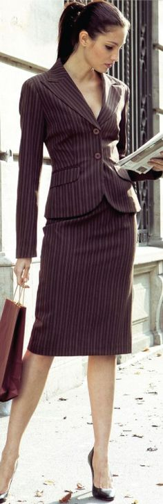 Pinstriped office business, women fashion outfit clothing stylish apparel @roressclothes closet ideas