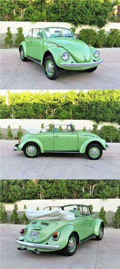 Green Beetle, Beetle Convertible, Green Bodies, Exterior Colors, Colorful Interiors, Cars For Sale, Dream Cars, Bugs, Volkswagen
