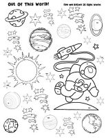 Space Sight Word Find - To be used w/ a magnifying glass.