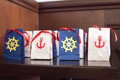 Nautical Gift bags with Thank You Tags- set of 10