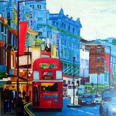London Twilight by Antoon Knaap Drawing Sketches, My Drawings, Sketching, Bright Colors Art, Thing 1, Old Paintings, London Art, Dali, Famous Artists