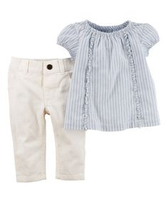 This Carter's Light Blue Pin Stripe Ruffle Tunic & White Pants - Infant by Carter's is perfect! #zulilyfinds