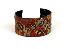 Bohemian Leather Cuff Bracelet - Leather Accessories - Earth Tones Rustic Jewelry - Women's Small by The Repurposed Artist