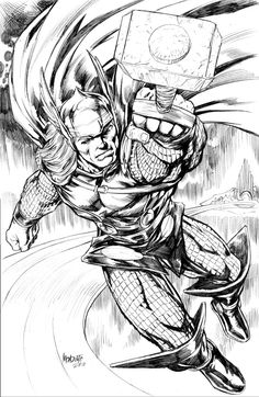 Thor pencil commission by gammaknight on DeviantArt