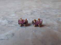 WATERMELON TOURMALINE SLICE studs. October by EmersonKateDesigns