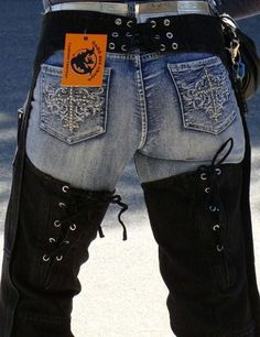 womens denim chaps rear corset adjustments
