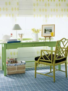Appealing variegated shades of green in this cheerful office nook