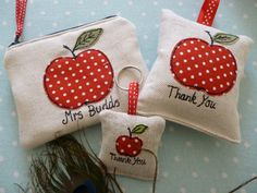 Personalised Teacher Gifts Choice of Coin Purse, Lavender Bag or Keyring apple | eBay