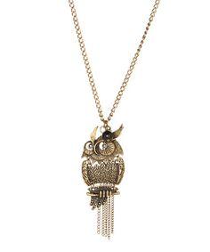 Look what I found on #zulily! Antique Brass Owl Fringe Pendant Necklace #zulilyfinds