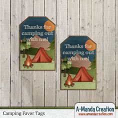 Camping Party Printables from #AmandaCreation.  Throw an awesome camping themed birthday party with these printable favor tags