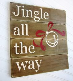 Jingle All the Way Holiday Sign -- Add Holiday Color and Cheer to a Wood Sign with @DecoArt Americana, Craft Twinkles and @Silhouette America cutting machine #Christmas
