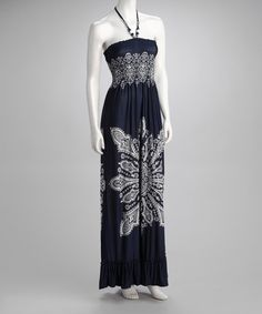 $15.99 Take a look at this Women's Navy Shirred Halter Maxi Dress by Just Love on #zulily today!